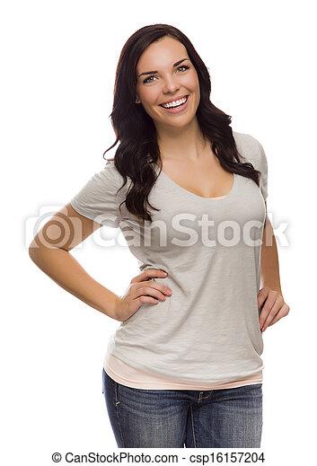 bonito, fundo, isolado, raça, femininas, misturado, branca - csp16157204