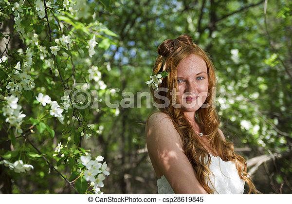 bonito, garden., mulher - csp28619845