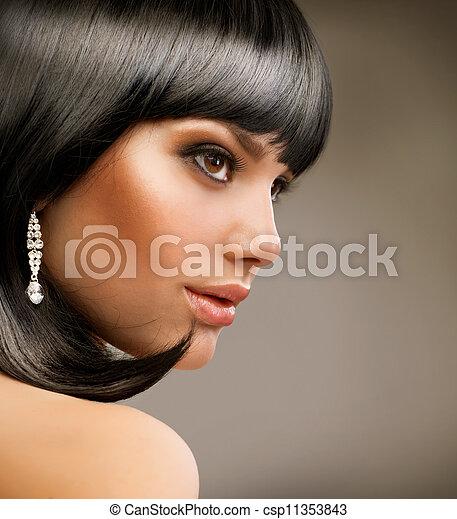 bonito, girl., haircut., morena, penteado - csp11353843