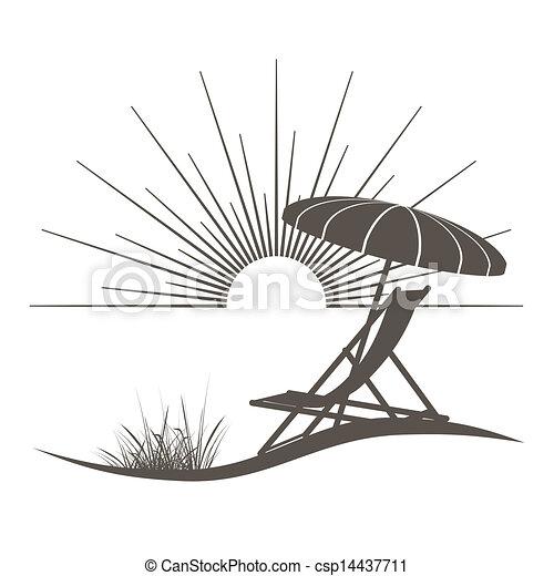 bonito, guarda-sol, ilustração, mar, cadeira, praia, vista - csp14437711
