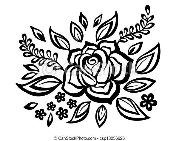 Bonito Guipure Preto E Branco Elemento Embroidery Desenho Imitação Floral Flores Folhas Element