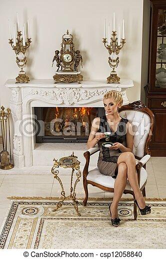 bonito, interior, mulher, luxo, loura - csp12058840