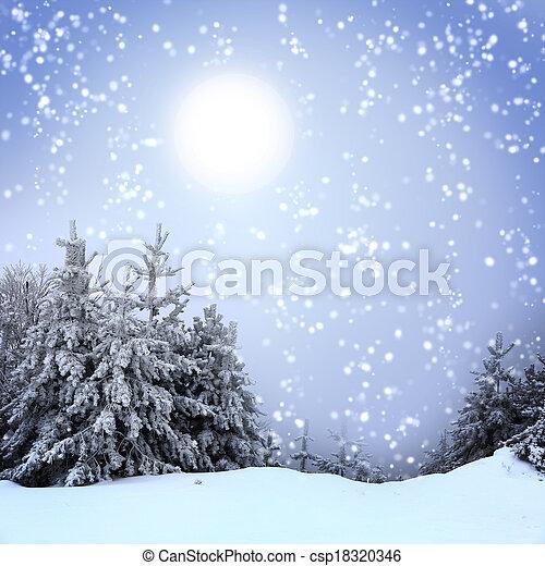bonito, inverno, neve, árvores, coberto, paisagem - csp18320346