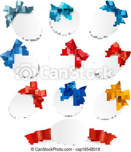 bonito, jogo, presente, arcos, vetorial, ribbons., cartões, vermelho - csp16548018
