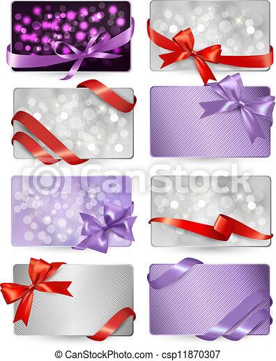 bonito, jogo, presente, arcos, vetorial, cartões, fitas, vermelho - csp11870307
