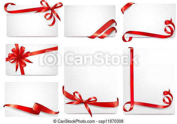 bonito, jogo, presente, arcos, vetorial, cartões, fitas, vermelho - csp11870308