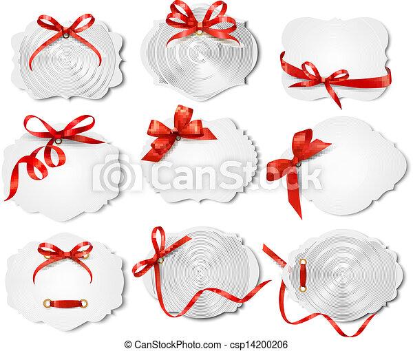bonito, jogo, presente, arcos, vetorial, ribbons., cartões, vermelho - csp14200206