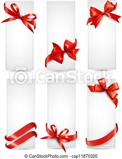 bonito, jogo, presente, arcos, vetorial, cartões, fitas, vermelho - csp11870320