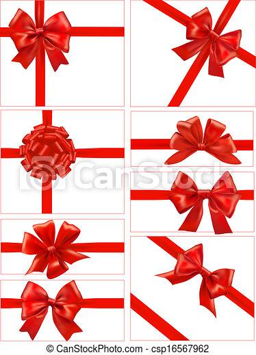 bonito, jogo, presente, arcos, vetorial, cartões, fitas, vermelho - csp16567962