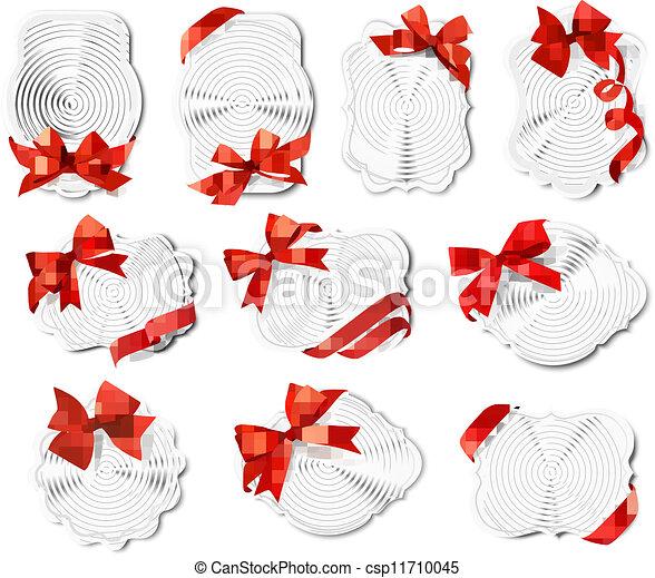 bonito, jogo, presente, arcos, vetorial, cartões, fitas, vermelho - csp11710045