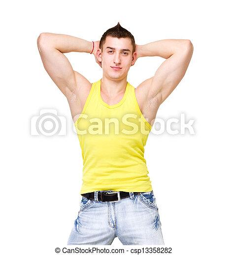 bonito, jovem, amarela, t-shirt, retrato, homem - csp13358282