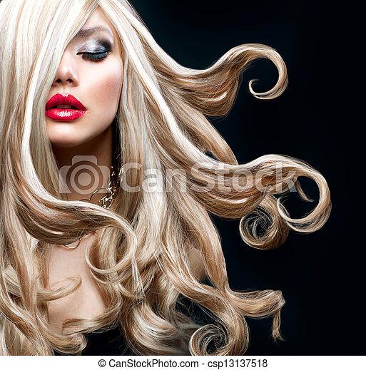 bonito, loura, hair., excitado, loiro, menina - csp13137518