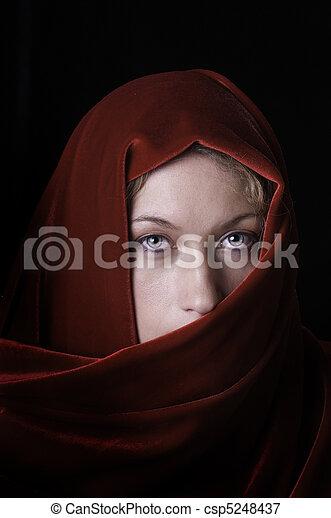 bonito, mantô, veludo, vermelho, loura - csp5248437