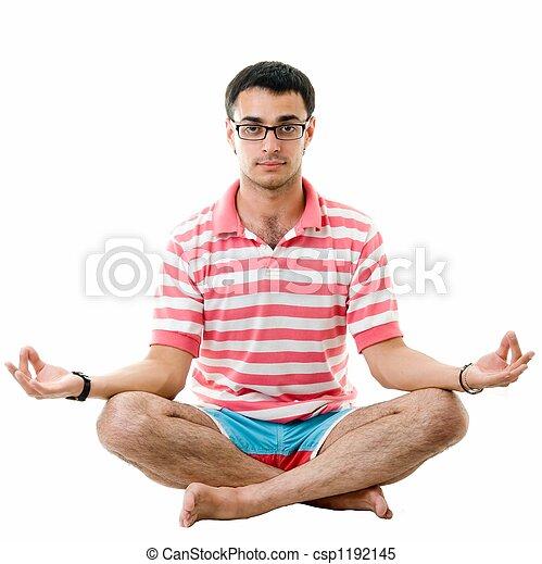 bonito, meditates., yoga., homem - csp1192145