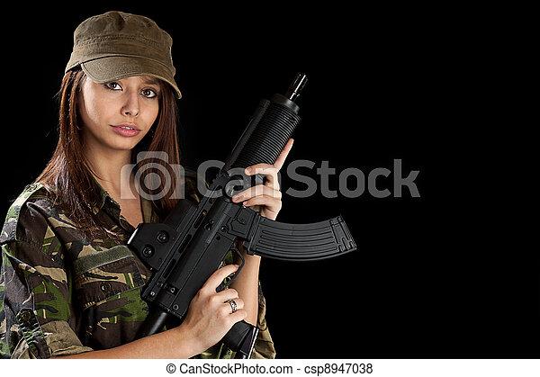 bonito, menina, rifle - csp8947038