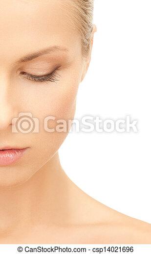 bonito, metade, rosto mulher - csp14021696