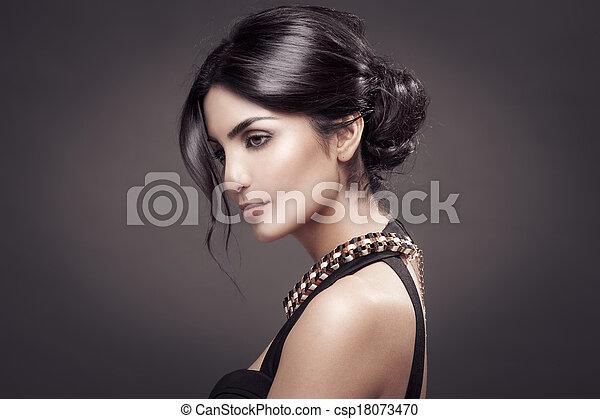 bonito, moda, escuro, experiência., retrato, woman. - csp18073470