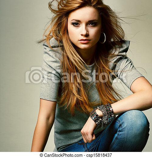 bonito, moda, foto, glamur, menina, estilo - csp15818437