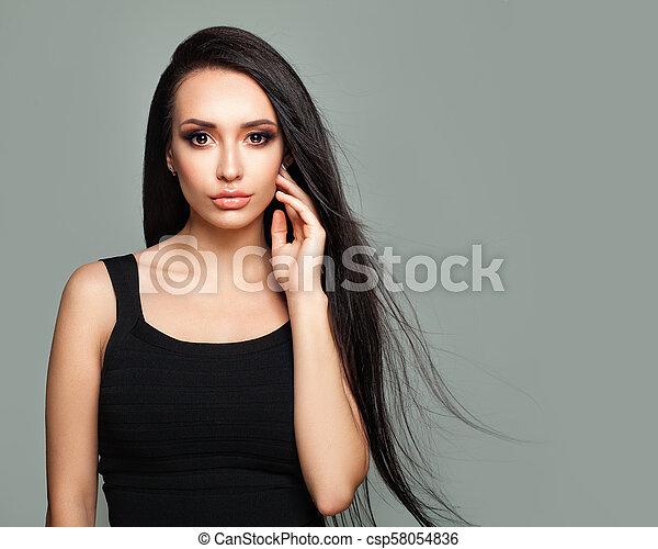 bonito, moda, saudável, cabelo longo, retrato, menina, modelo - csp58054836
