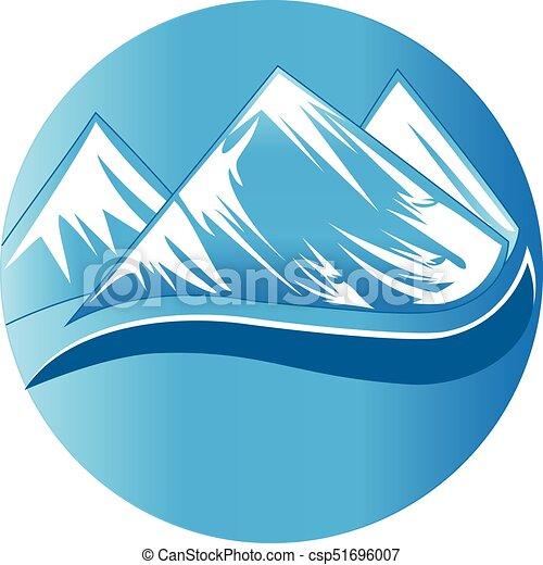 bonito, montanhas, logotipo - csp51696007