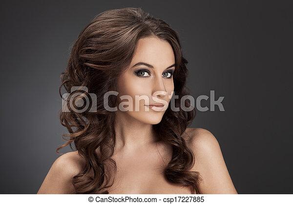 bonito, morena, cacheados, longo, hair., woman. - csp17227885