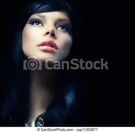 bonito, morena, escuridão, sobre, experiência., menina preta - csp11353877