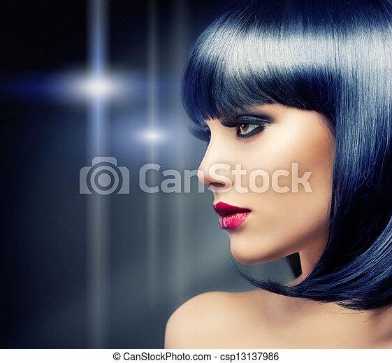 bonito, morena, saudável, cabelo, girl., pretas - csp13137986