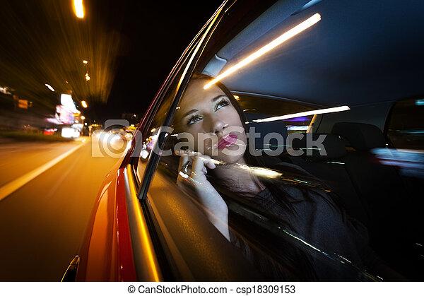 bonito, mulher carro - csp18309153