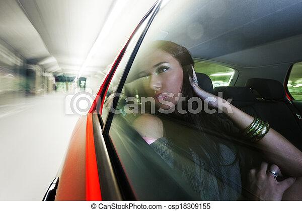bonito, mulher carro - csp18309155
