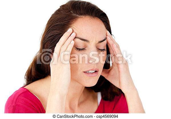 bonito, mulher hispânica, tendo, dor de cabeça - csp4569094