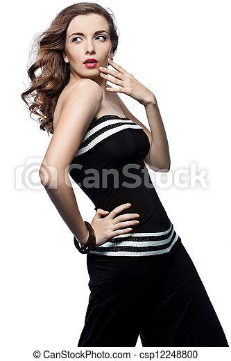 bonito, mulher preta, total - csp12248800
