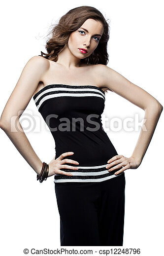 bonito, mulher preta, total - csp12248796