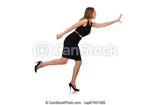 bonito, mulher preta, vestido - csp67451026