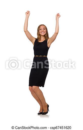 bonito, mulher preta, vestido - csp67451620