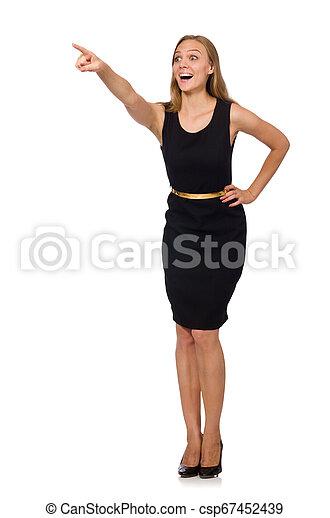 bonito, mulher preta, vestido - csp67452439