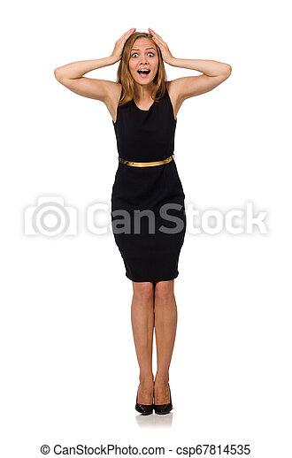 bonito, mulher preta, vestido - csp67814535