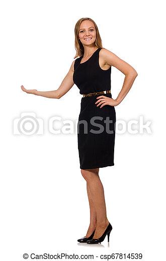 bonito, mulher preta, vestido - csp67814539