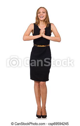 bonito, mulher preta, vestido - csp69594245