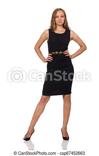 bonito, mulher preta, vestido - csp67452663