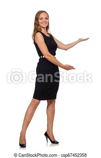 bonito, mulher preta, vestido - csp67452358