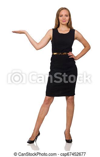 bonito, mulher preta, vestido - csp67452677