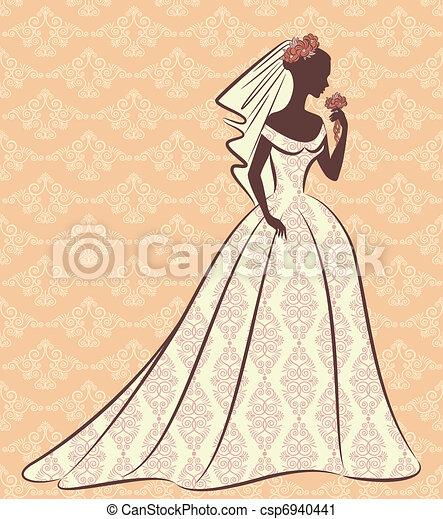bonito, noiva, dress. - csp6940441