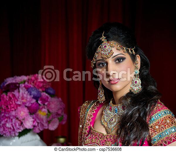 bonito, noiva, indianas - csp7536608