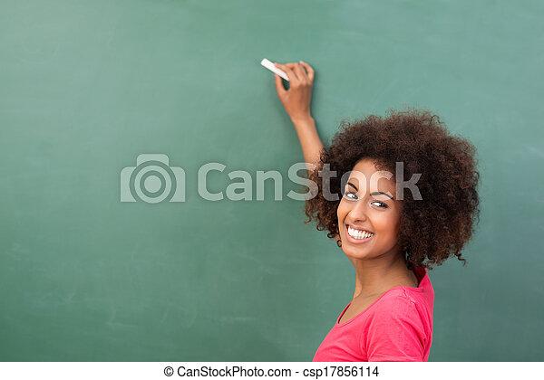 bonito, ou, americano, estudante, africano, professor - csp17856114