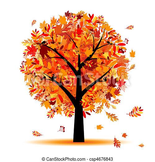 bonito, outono, desenho, árvore, seu - csp4676843