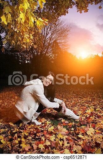 bonito, outono, mulher, jovem, park. - csp6512871