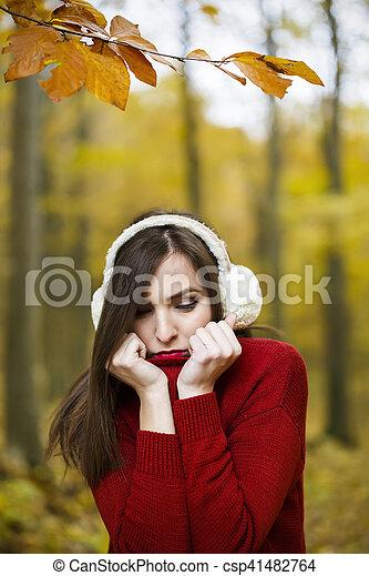 bonito, outono, mulher, parque - csp41482764