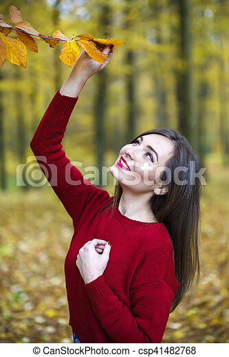bonito, outono, mulher, parque - csp41482768