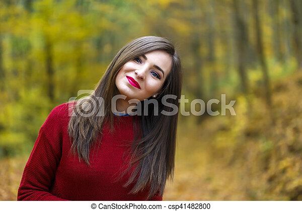 bonito, outono, mulher, parque - csp41482800