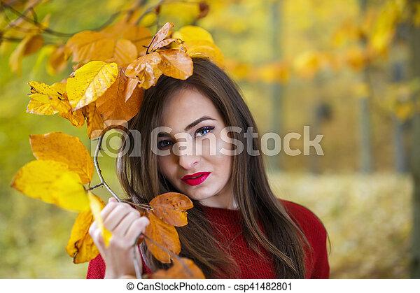 bonito, outono, mulher, parque - csp41482801